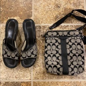 Matching coach wedges and purse